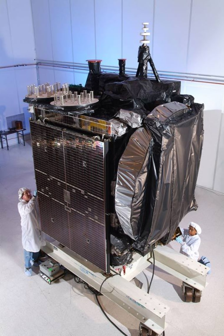 The Galaxy 15 satellite is seen before its 2005 launch to geostationary orbit nearly 36,000 kilometers over the Earth's equator.