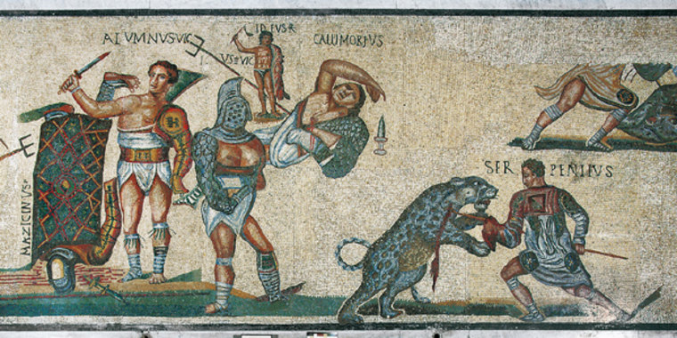 Ancient Sporting Event Images on mosaics and reliefs that decorated the houses and tombs in Pompeii have allowed historians to reconstruct Rome's ancient gladiator games.