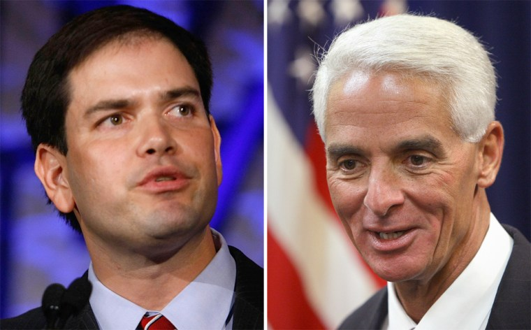 Former state House Speaker Marco Rubio, left,was once considered a long shot against Governor Charlie Crist, right, who has widespread name recognition and a significant fundraising lead.