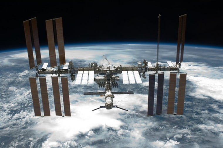 Image: A photograph of the International Space Station from the shuttle Endevour.
