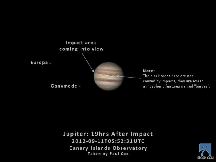 This photo of Jupiter taken by a Slooh Space Camera telescope in the Canary Islands, shows the face of Jupiter and location of its moons 19 hours after a bright impact flash was spotted by amateur astronomers on Sept. 12, 2012.