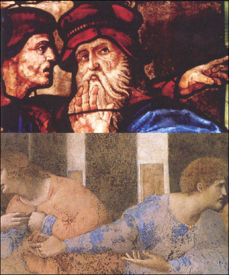"""Alessandro Vezzosi, Museo Ideale Vinci     Found Art This stained-glass scene by the French artist Guillaume de Pierre di Marcillat (above) depicts an aging Leonardo da Vinci, argues Italian scholar Alezzandro Vezzosi. When compared with a scene from Leonardo's masterpiece """"The Last Supper"""" (below), """"the figure next to the old bearded man"""" in the stained-glass work """"strongly recalls the profile of the apostle Matthew in Leonardo's masterpiece,"""" said Vezzosi."""