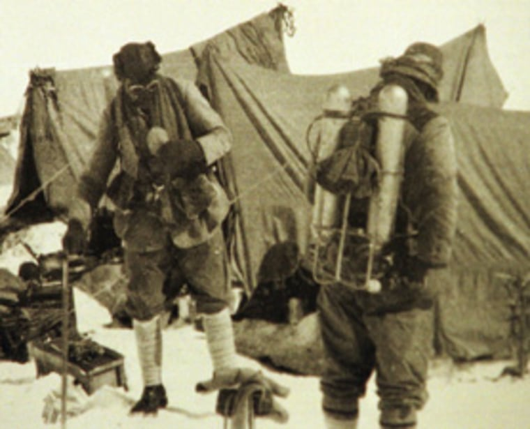 British mountaineers George Mallory is seen with Andrew Irvine at the base camp in Nepal, as they get ready to climb the peak of Mount Everest in June 1924. It is the last image of the men before they disappeared in the mountain.