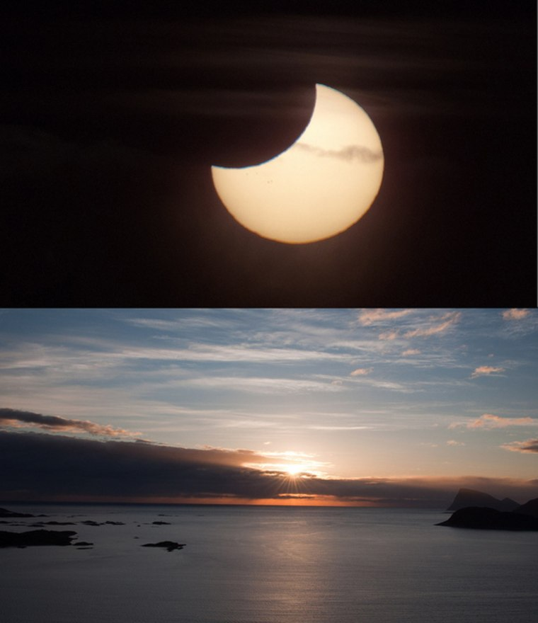 """Photographer and skywatcher Bernt Olsen snapped this view of the partial solar eclipse of June 1-2, 2011 just during the """"midnight sun"""" in Tromso, Norway. The partial solar eclipse was dubbed a """"midnight"""" eclipse as its viewing path crossed the International Date Line across far northern latitudes"""