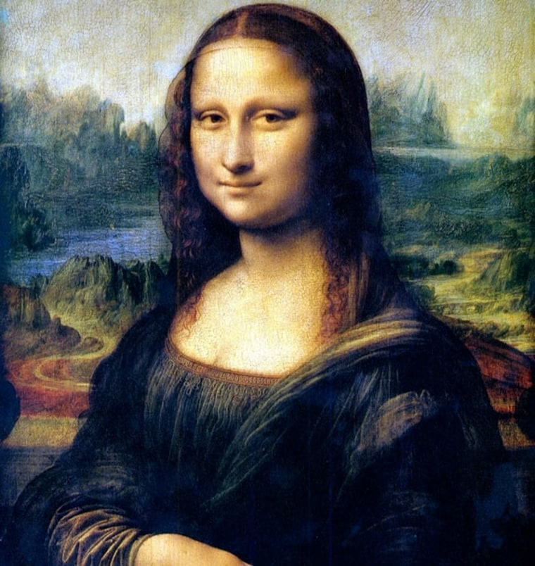 This is a retouched picture of the Mona Lisa, a painting by Leonardo DaVinci, currently housed at the Louvre museaum in Paris, France. It has been digitally altered from its original versio by modifying it's colors.
