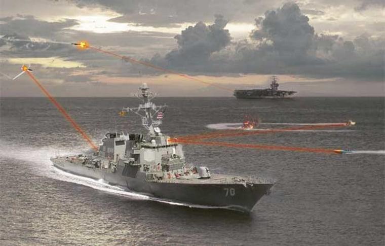 An optimistic artist's rendering of a fully operational Maritime Laser Demonstrator.