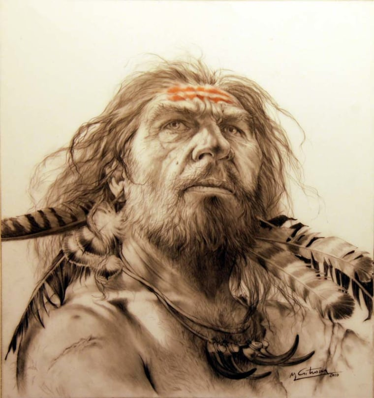 An artist's depiction of a Neanderthal decorated with feathers.