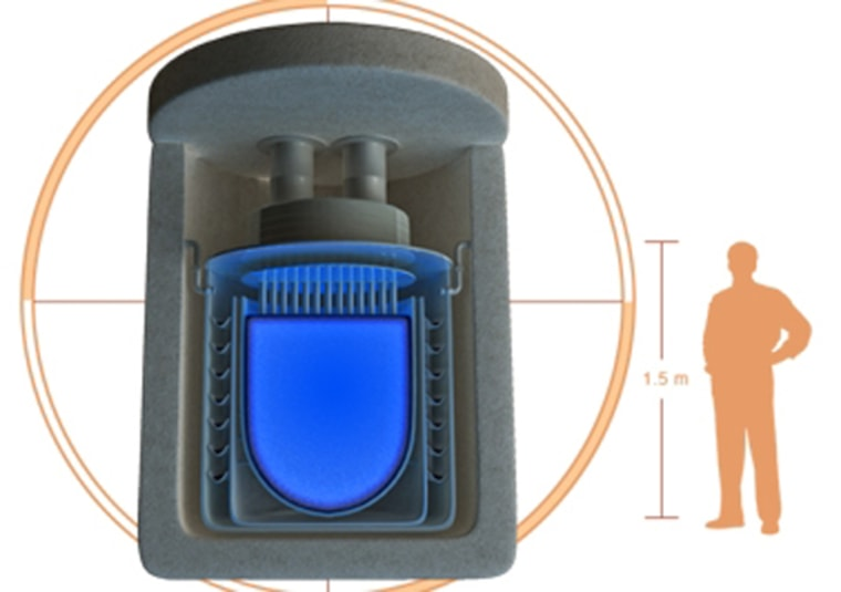 Hyperion Power Generation     Shed-Sized Nuke Plant An illustration of a shed-sized nuclear reactor being developed by Hyperion Power Generation. Many modern nuclear facilities moderate their reactions with control rods. Hyperion instead adds hydrogen atoms to the uranium in their mini nuclear reactors, which take the place of the control rods to moderate the reaction