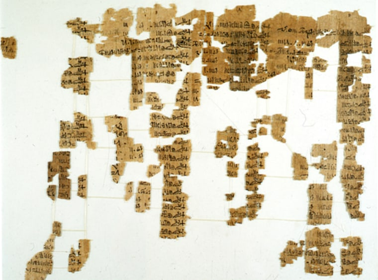 Museo Egizio, Torino     3,000-Year-Old Document For 100 years, archaeologists have been trying to piece together fragments to this 3,000-year-old document, written on a papyrus stem. The Egyptian document enumerates all the Egyptian kings and when they ruled. Newly found fragments to the document should help in piecing together the puzzle.