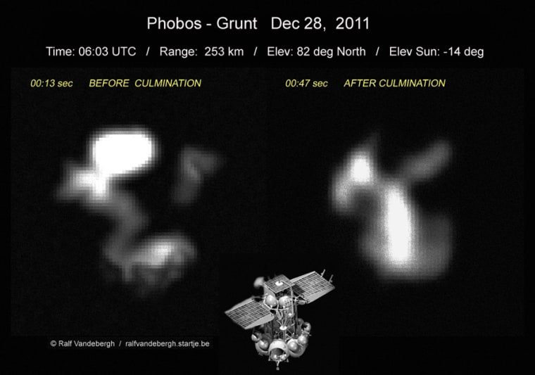 Astrophotographer Ralf Vandebergh took this image of Russia's Phobos-Grunt probe on Dec. 28, 2011, as the troubled spacecraft flew over Europe.