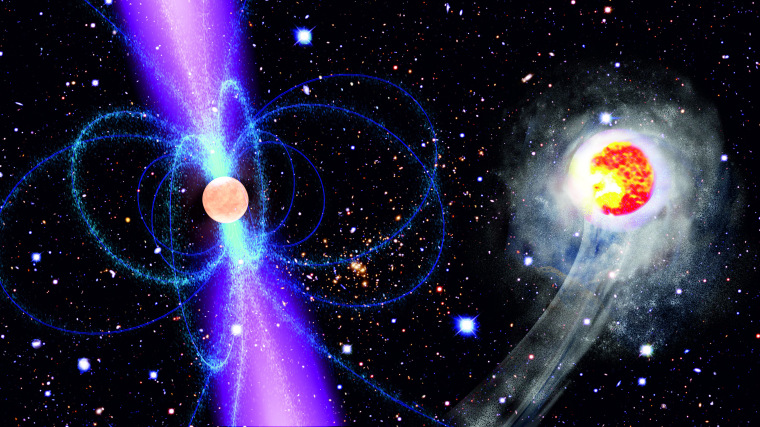 This artist's impression shows the speedy companion (right) as it races around the pulsar PSR J1311-3430 (left). The energetic gamma-radiation emitted by the pulsar heats and consequently evaporates the companion. The pulsar, which completes one orbit every 93 minutes, is surrounded by its strong magnetic field (blue).