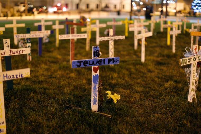 Crosses on the lawn of City Hall mark lives lost to violence.