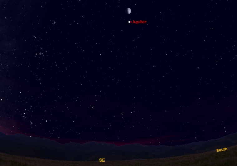 This sky map shows where to look to see the moon and Jupiter together in the night sky on Jan. 2, 2012 at 6 p.m. local time from mid-northern latitudes.