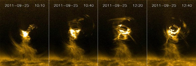 In the lower corona swirling magnetic fields and plasma create huge solar tornadoes measuring several times the width of Earth.