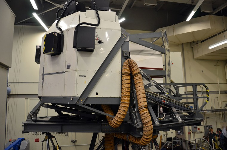 An exterior view of NASA Johnson Space Center's Shuttle Motion Simulator (SMS), which will be moved to Texas A&M University in 2012.