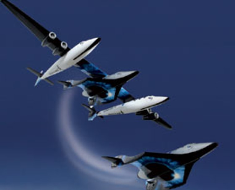 Virgin Galactic's SpaceShipTwo, pictured here dropping from the mother ship, is set to debut today.