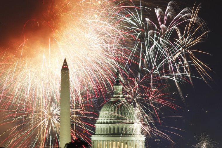 Image: Fireworks light up the sky over the United States Capitol dome and the Washington Monument as the U.S. celebrates its 235th Independence Day in Washington
