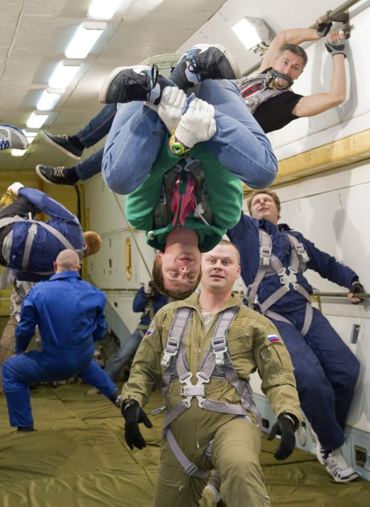 Image: Winners of the Red Bull Flugtag competition experience zero gravity conditions in a cosmonaut training plane above Moscow