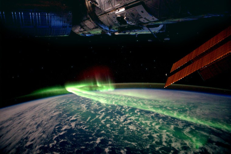 Image: The Aurora Australis is seen in this handout picture taken on board the International Space Station between Antarctica and Australia