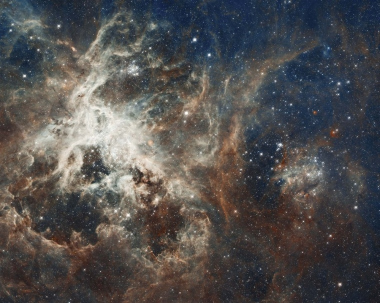 Image: A NASA Hubble Space Telescope composite image shows a stellar breeding ground in 30 Doradus, located in the heart of the Tarantula Nebula 170,000 light-years away in the Large Magellanic Cloud