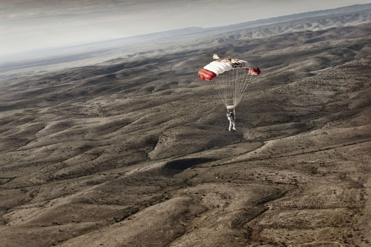 Image:  Felix Baumgartner of Austria during the second manned test flight