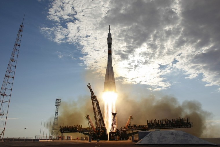 Image: The Soyuz TMA-05M rocket launches from the Baikonur Cosmodrome in Kazakhstan