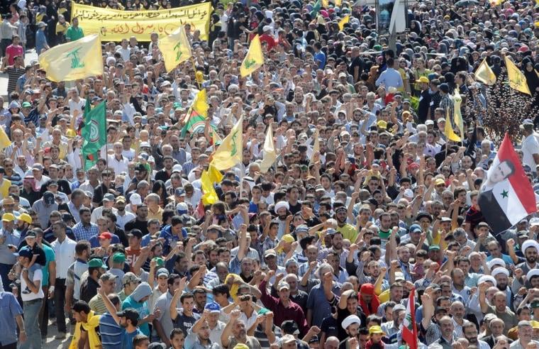 Image: Supporters of Hezbollah demonstrate in Baalbeck