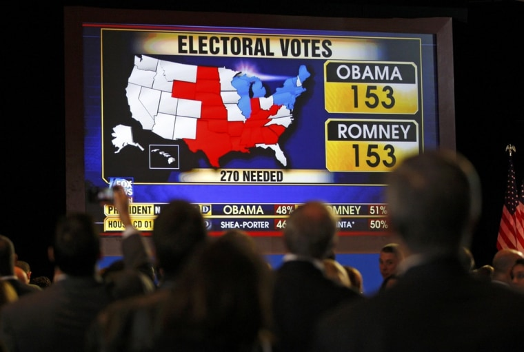 Image: Supporters watch voting returns at the election night rally for U.S. Republican presidential nominee Mitt Romney in Boston Massachusetts