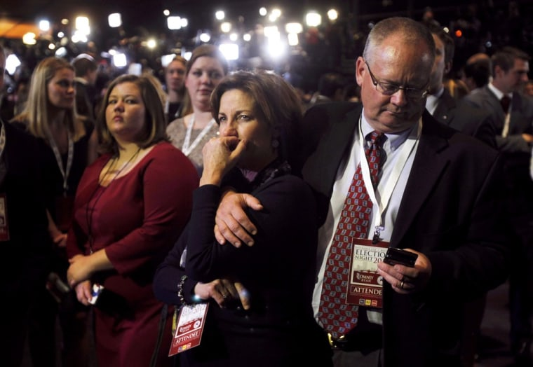 Image: Supporters watch voting returns at the election night rally for U.S. Republican presidential nominee Mitt Romney during his election night rally in Boston