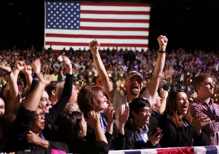 Image: Supporters of U.S. President Obama cheer during his election night rally in Chicago