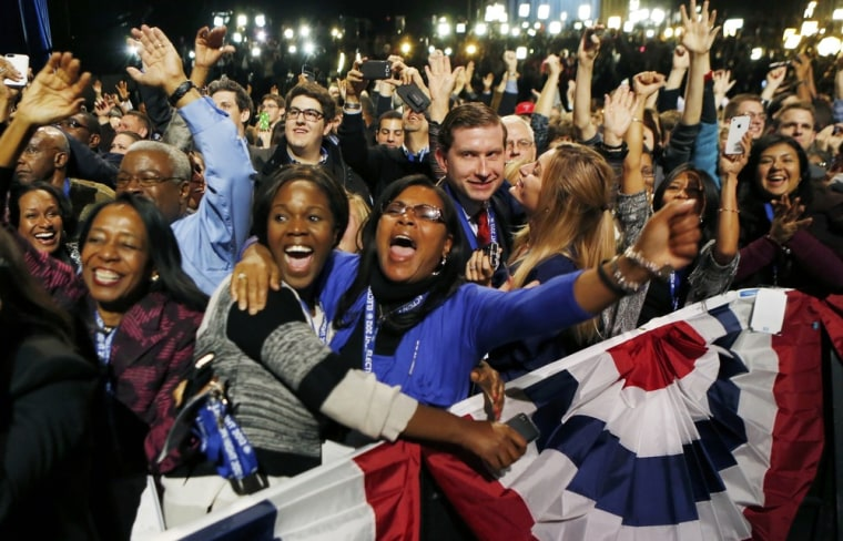 Image: U.S. President Barack Obama supporters cheer at election victory night rally in Chicago