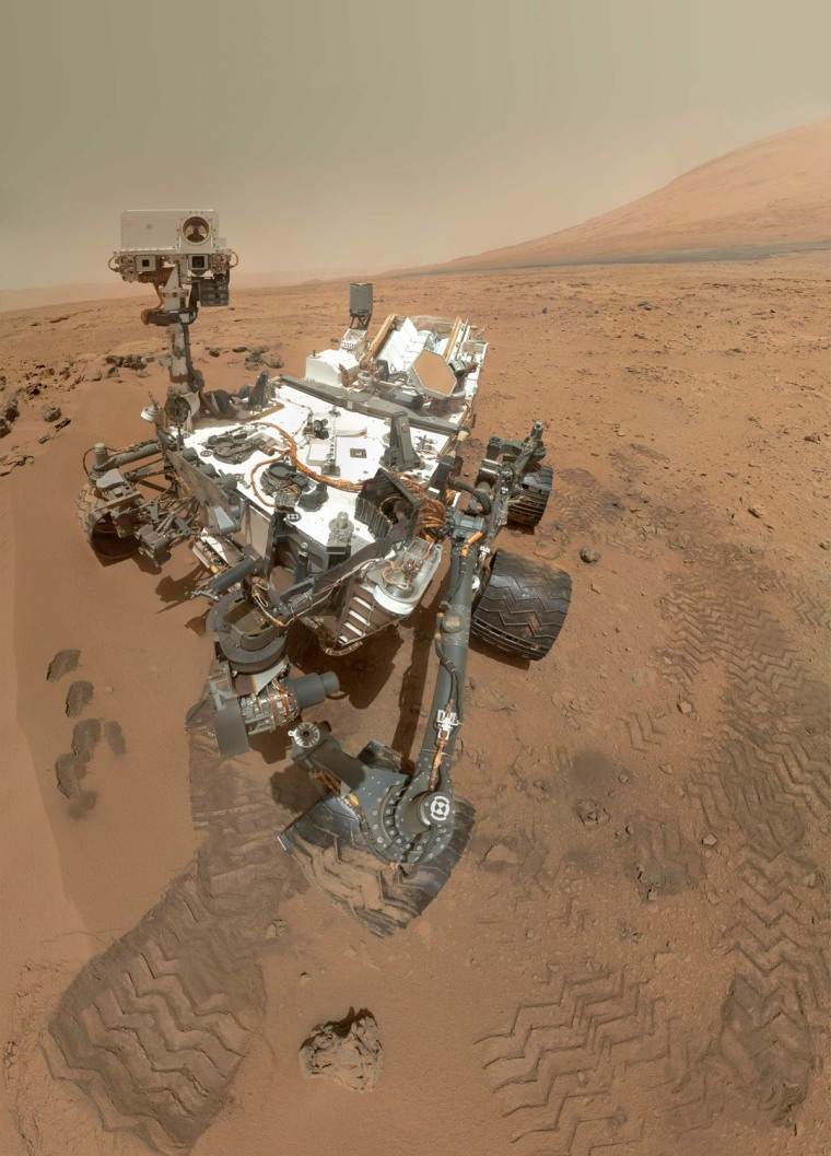 Image: NASA handout image of the Curiosity rover on Mars