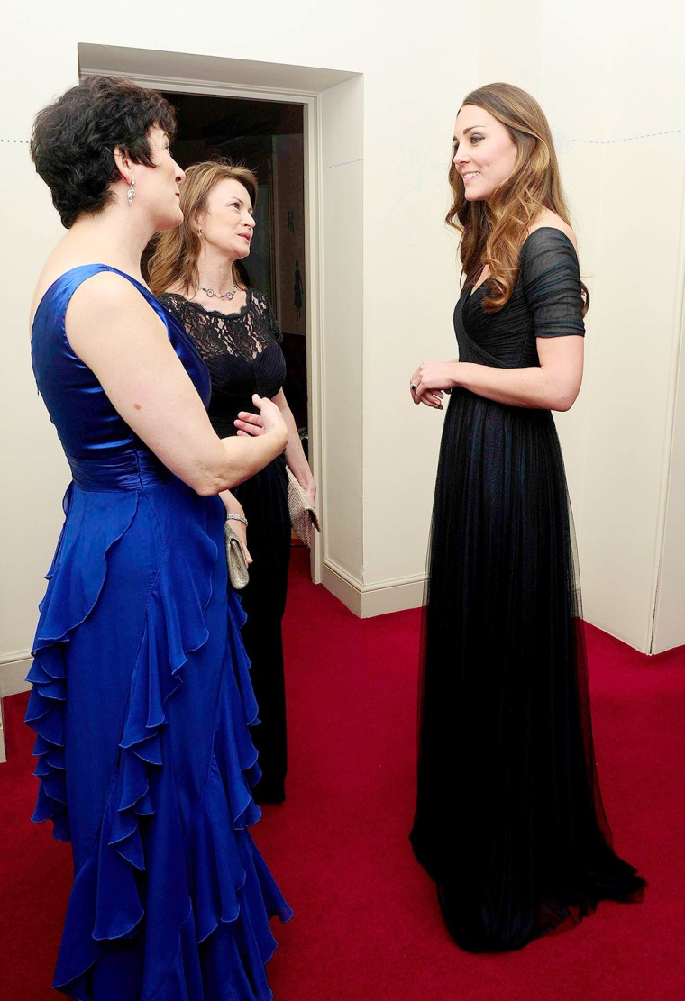 Image: Britain's Catherine, Duchess of Cambridge, speaks to Pullinger and Drake at a gala dinner in aid of Action on Addiction hosted by 100WHF in London