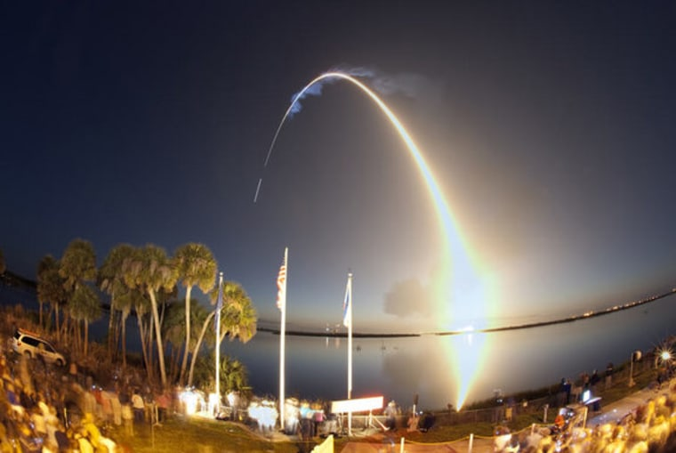 Space Shuttle Discovery launched on its STS-131 mission from Kennedy Space Center in Florida shortly before dawn on April 5, 2010. Time-elapsed photography captures Discovery's path to orbit. Liftoff from Launch Pad 39A at NASA's Kennedy Space Center in Florida was at 6:21 a.m. ET April 5 on the STS-131 mission.