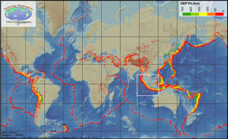 Lisa Christiansen |   World Earthquake Map This global map of earthquakes magnitude 5.0 or above shows the Sumatra region outlined in white. The colors indicate the depth of the earthquakes, red being the most shallow and green the deepest. | More Images
