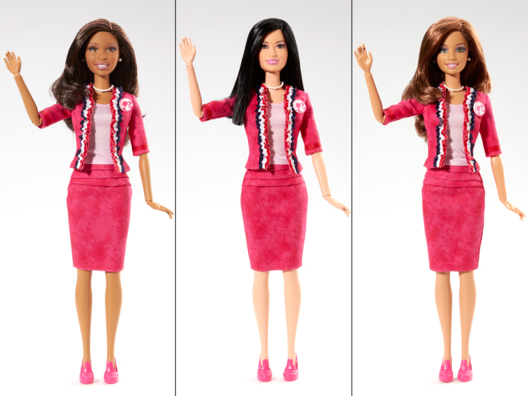 Image: Political Barbie available in multiple ethnicities; shown here in African-American, Asian, and Hispanic