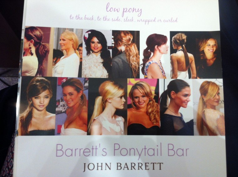 The menu at Barrett's Ponytail Bar in New York showcases a variety of ponytail styles worn by celebrities and models.