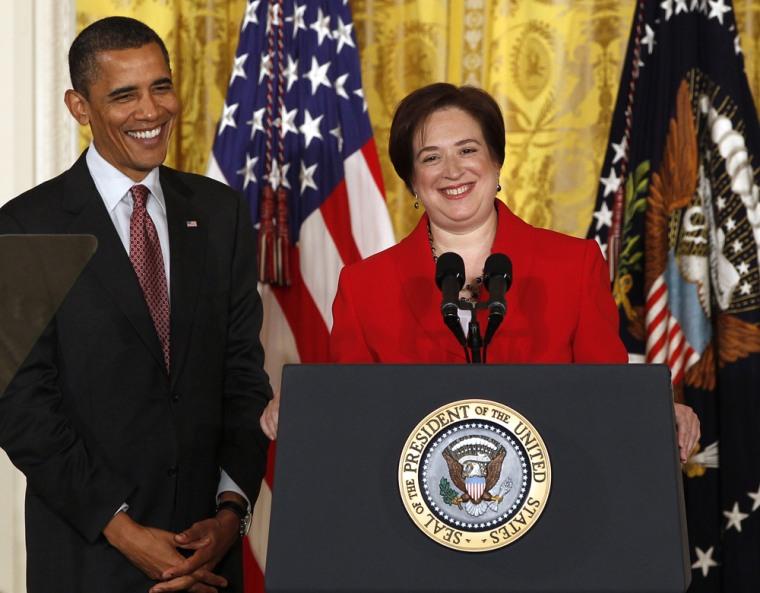 Image: U.S. President Obama hosts a reception for Elena Kagan after Senate vote in Washington