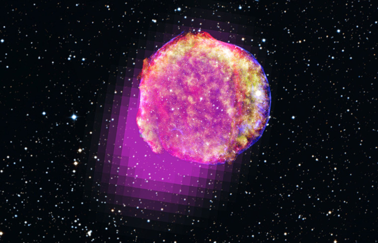 Gamma rays detected by NASA's Fermi space telescope show that the remnant of Tycho's supernova shines in the highest-energy form of light. This portrait of the shattered star includes gamma rays (magenta), X-rays (yellow, green, and blue), infrared (red) and optical data.