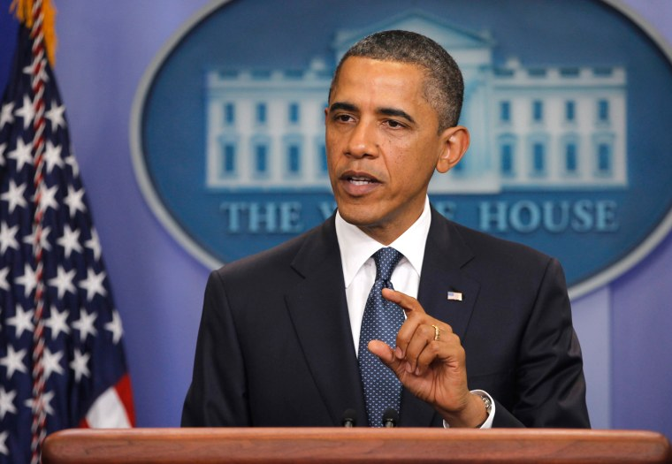 Image: U.S. President Barack Obama makes a statement to the press on U.S. debt reduction in the Brady Press briefing room of the White House in Washington