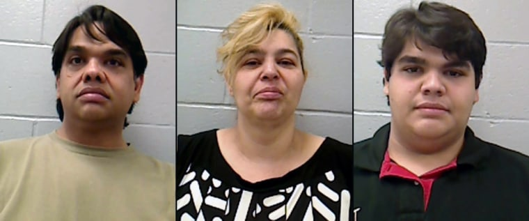 Nicholas Davis,left, Barbara Davis, and Jonathan Stevens have been charged with felony endangering the welfare of a dependent person, authorities say.