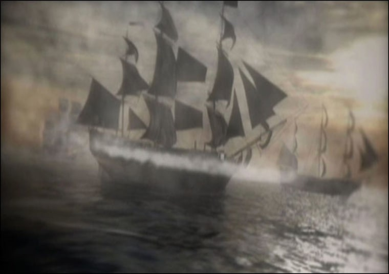 JWM Productions |   This illustration shows the HMS Victory and her fleet as they sail through the English Channel. After rescuing a Mediterranean convoy in 1774, the ships entered stormy seas from which the Victory would never return.