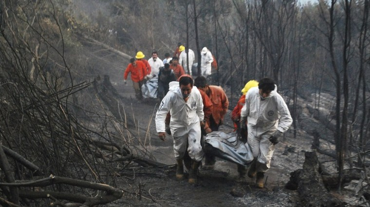 Image: Rescue team members walk past burnt woodland after a forest fire near Temuco city in the south of Santiago
