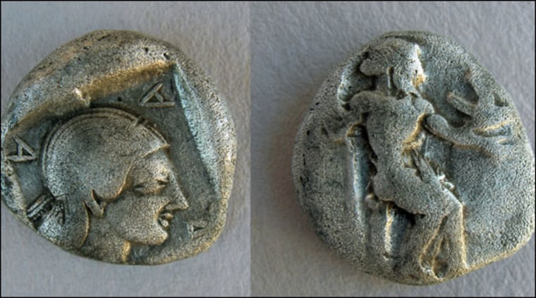 Mt. Lykaion Excavation and Survey Project, Summer 2008 |   Collector's Item These Arcadian League coins, from the 5th century B.C., show Zeus at rest. They were excavated along with several other archaeological artifacts at Mt. Lykaion in 2008.|