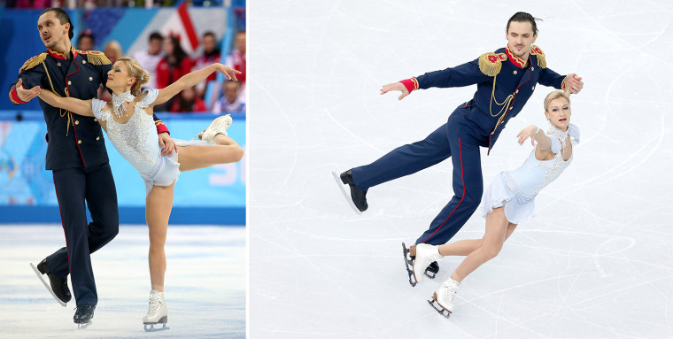 epa04058644 Tatiana Volosozhar and  Maxim Trankov of Russia perform in the Pairs Short Programme of the Figure Skating Team event at Iceberg Skating Palace during the Sochi 2014 Olympic Games, Sochi, Russia, 06 February 2014.  EPA/HOW HWEE YOUNG  SOCHI, RUSSIA - FEBRUARY 06:  Tatiana Volosozhar and Maxim Trankov of Russia compete in the Figure Skating Pairs Short Program during the Sochi 2014 Winter Olympics at Iceberg Skating Palace on February 6, 2014 in Sochi, Russia.  (Photo by Matthew Stockman/Getty Images)