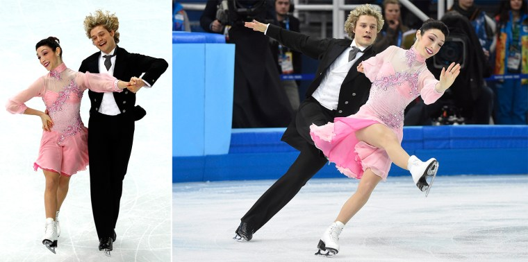 Meryl Davis and Charlie White of the United States compete in the team ice dance short dance figure skating competition at the Iceberg Skating Palace during the 2014 Winter Olympics, Saturday, Feb. 8, 2014, in Sochi, Russia. (AP Photo/The Canadian Press, Paul Chiasson)  US Meryl Davis and US Charlie White perform in the Figure Skating Team Ice Dance Short Dance at the Iceberg Skating Palace during the Sochi Winter Olympics on February 8, 2014.  AFP PHOTO / ADRIAN DENNISADRIAN DENNIS/AFP/Getty Images