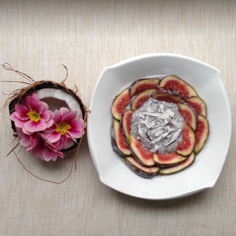Chia pudding with figs and fresh coconut flakes. Feb 16, 2014