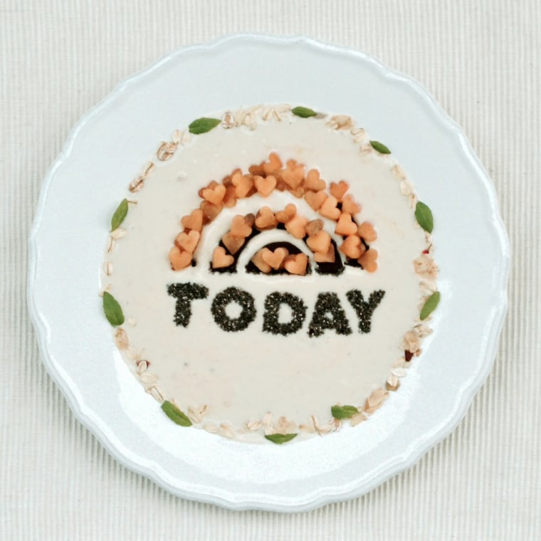 Ana was so thrilled to have TODAY.com feature her work that she crafted a plate just for us! The chia, chocolate and (heart-shaped) rock melon sunrise sits on a backdrop of vanilla yogurt.
