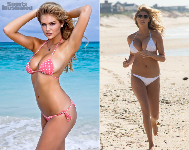 """In this image released by Sports Illustrated on Monday, Feb. 13, 2012, model Kate Upton  is shown in a photo from the """"Sports Illustrated 2012 Swimsuit Issue.""""  Upton also graces the cover of the double issue now on sale at newsstands, tablet, mobile and at SI.com/Swimsuit. (AP Photo/Walter Iooss Jr. for Sports Illustrated) NORTH AMERICA USE ONLY UNTIL MARCH 2, 2012. MANDATORY CREDIT: WALTER IOOSS JR/SPORTS ILLUSTRATED   This image released by 20th Century Fox shows Kate Upton in a scene from """"The Other Woman."""" (AP Photo/20th Century Fox, Barry Wetcher)"""