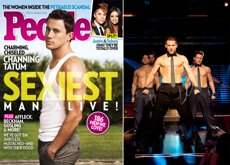 """This magazine cover image released Wednesday, Nov. 14, 2012, by People shows actor Channing Tatum on the cover of People's Sexiest Man Alive special double issue.  (AP Photo/People)  This film image released by Warner Bros. shows, from left, Adam Rodriguez, Kevin Nash, Channing Tatum, and Matt Bomer in a scene from """"Magic Mike."""" (AP Photo/Warner Bros., Claudette Barius)"""